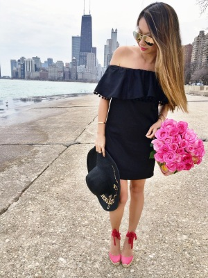 black-pom-pom-ruffle-dress